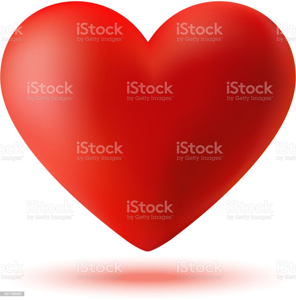 Red 3d heart vector art illustration