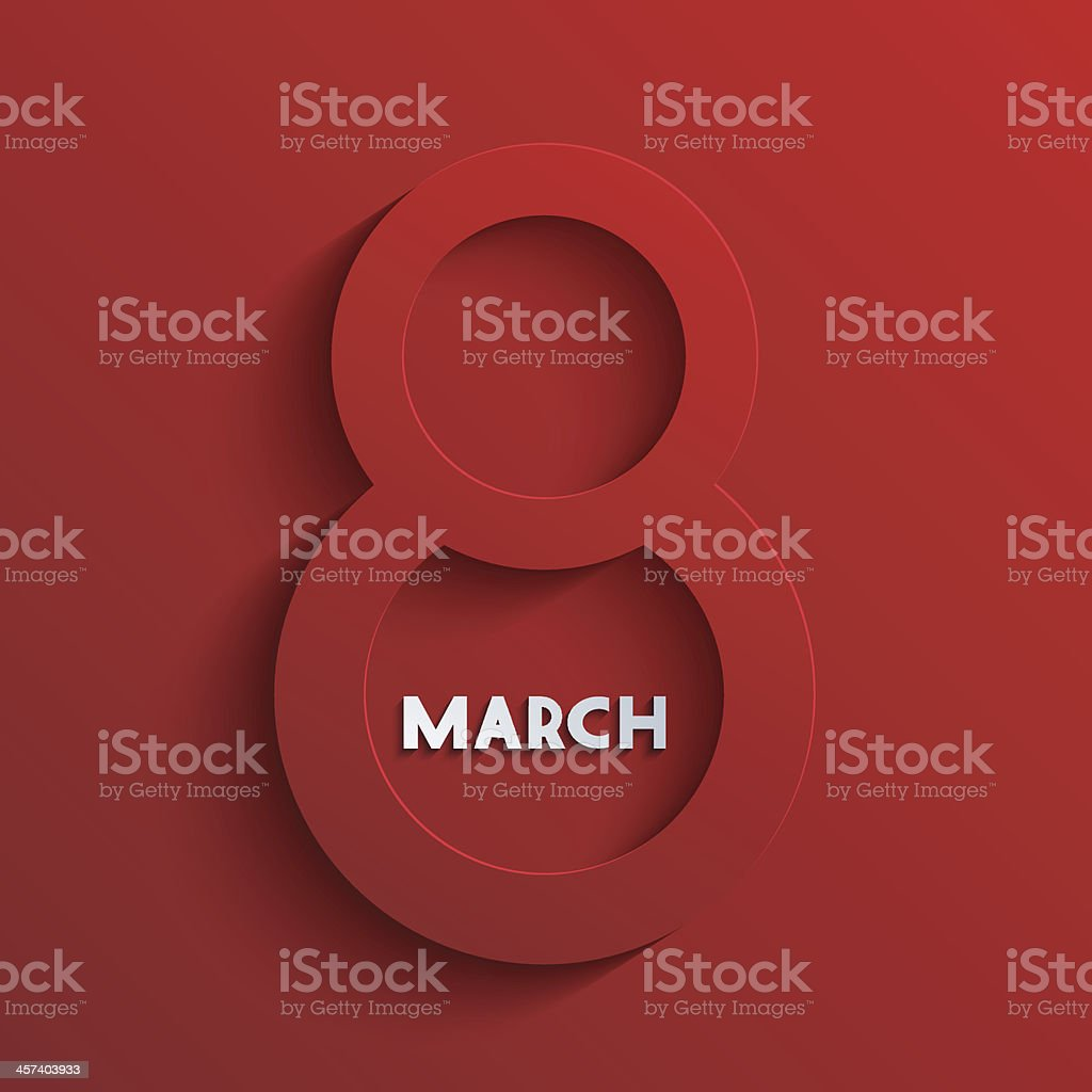 A red 3-D number eight on red with white March written royalty-free stock vector art