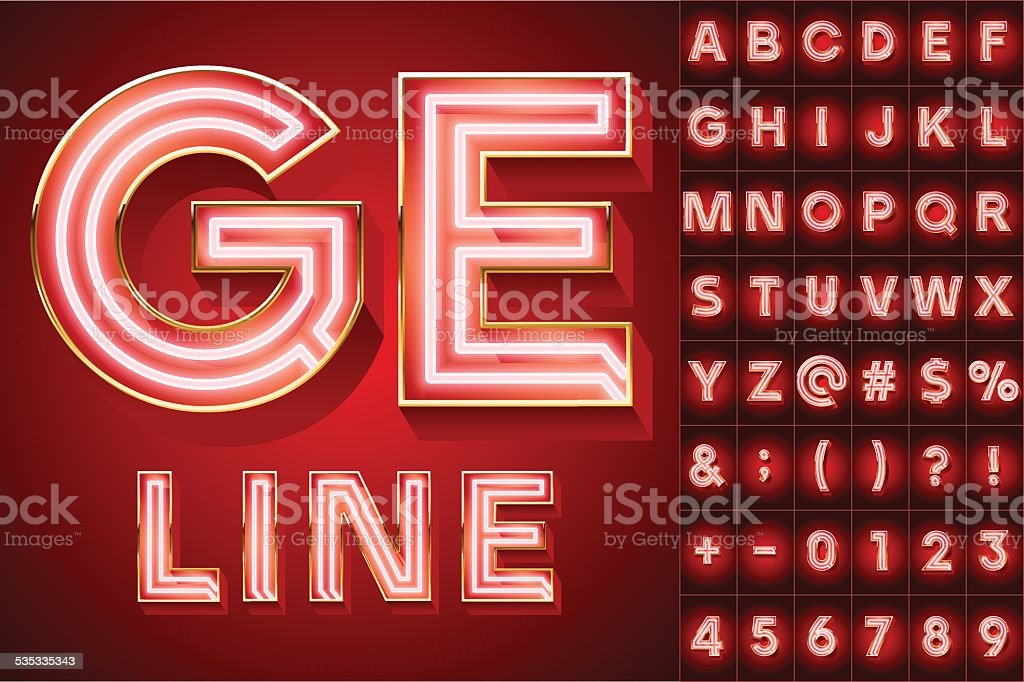 Red abstract neon tube alphabet for light board vector art illustration