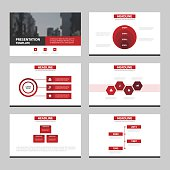 Red Abstract presentation templates, Infographic elements template flat design set