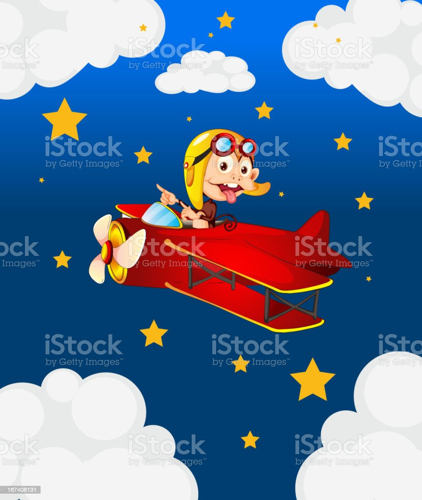 Red airplane with a boastful monkey royalty-free stock vector art