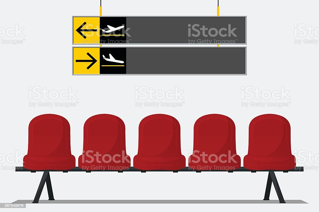 Red airport seat in waiting room. Chair icon vector. vector art illustration