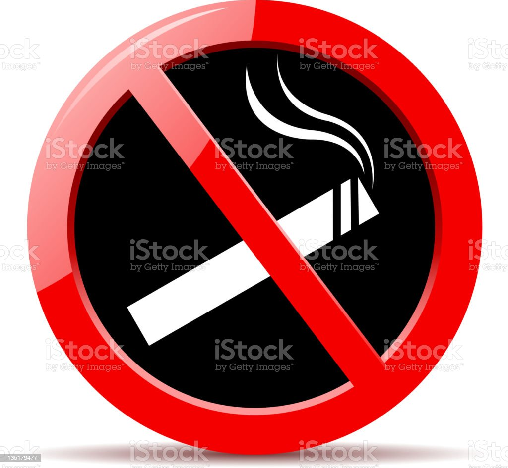 Red and black circular no smoking icon royalty-free stock photo
