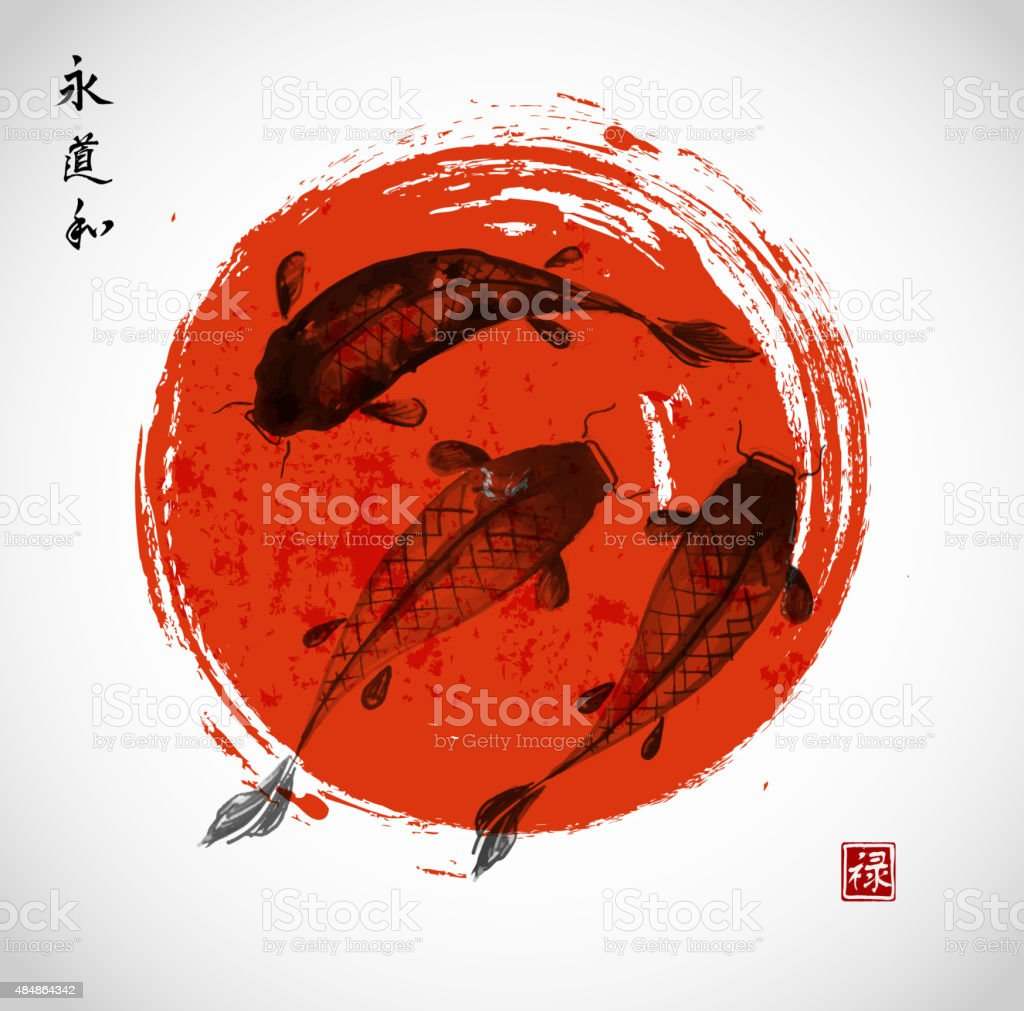 Red and black koi carps in Japanese style vector art illustration