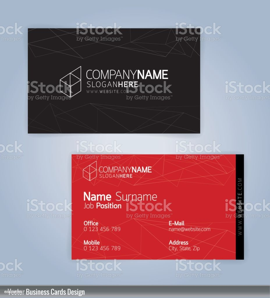 Red and Black modern business card template vector art illustration