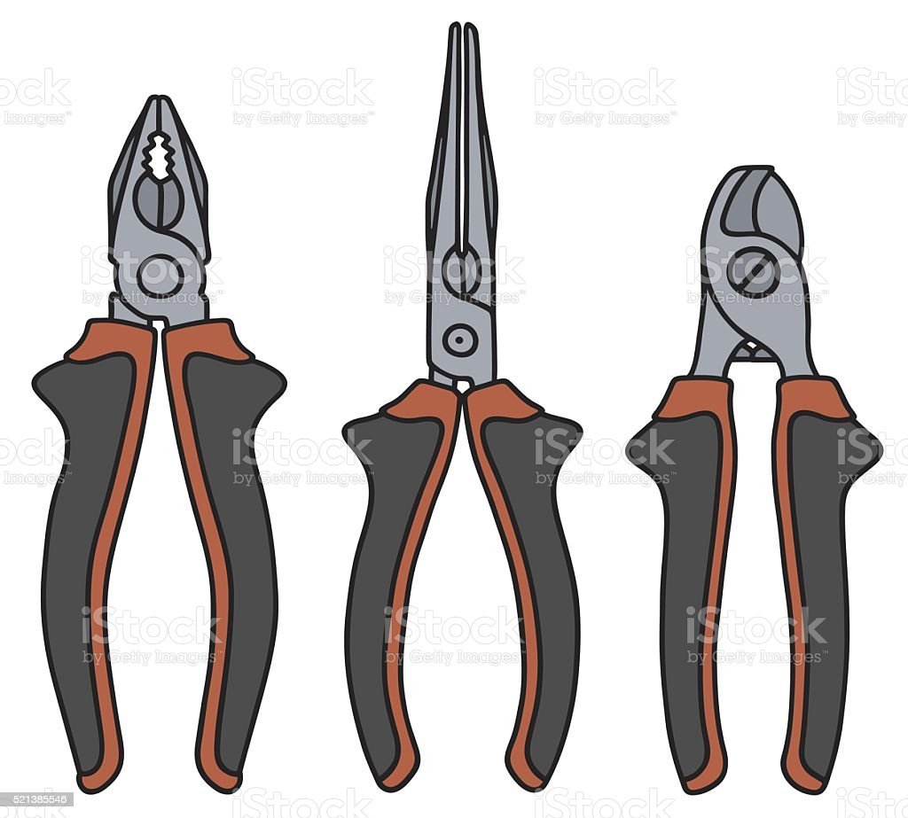Red and black pliers vector art illustration