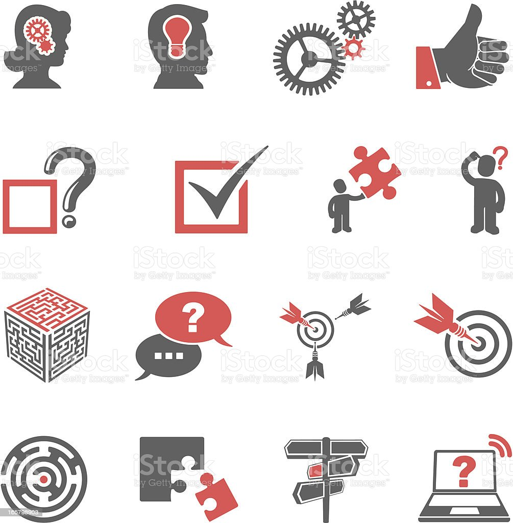 Red and black problem-solving icon set vector art illustration