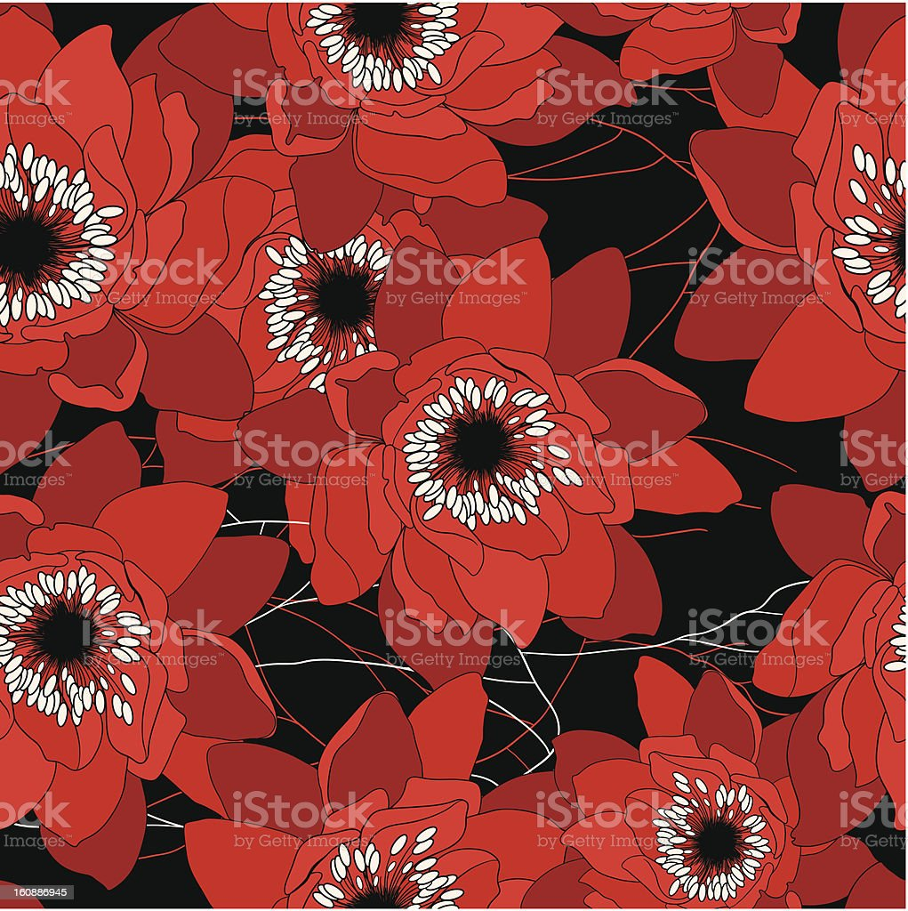 red and black seamless pattern with water lilies royalty-free stock vector art