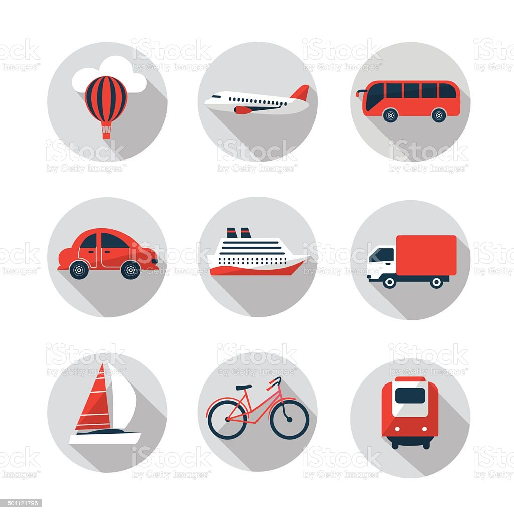 red and black set of transport icons vector art illustration
