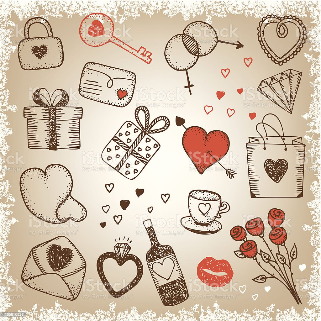 Red and black sketched romance items vector art illustration