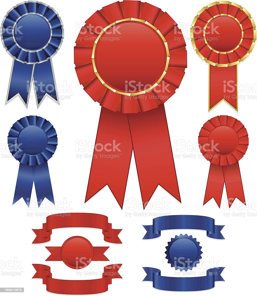 Red and Blue Award Winning Ribbons (Rosettes), Stickers Set vector art illustration