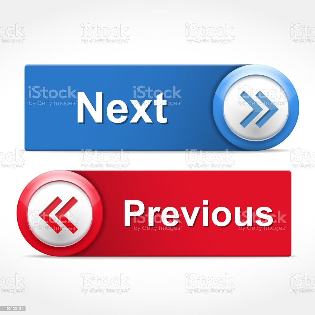 Red and blue buttons for next and previous vector art illustration