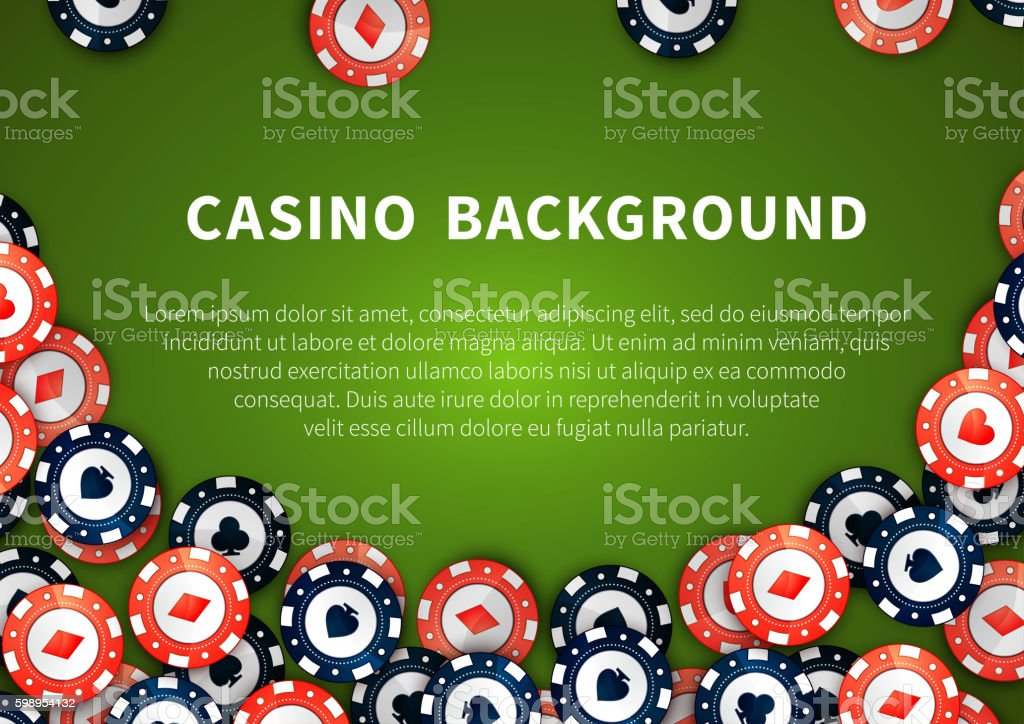 Red and blue casino chips with cards signs on green casino table,...