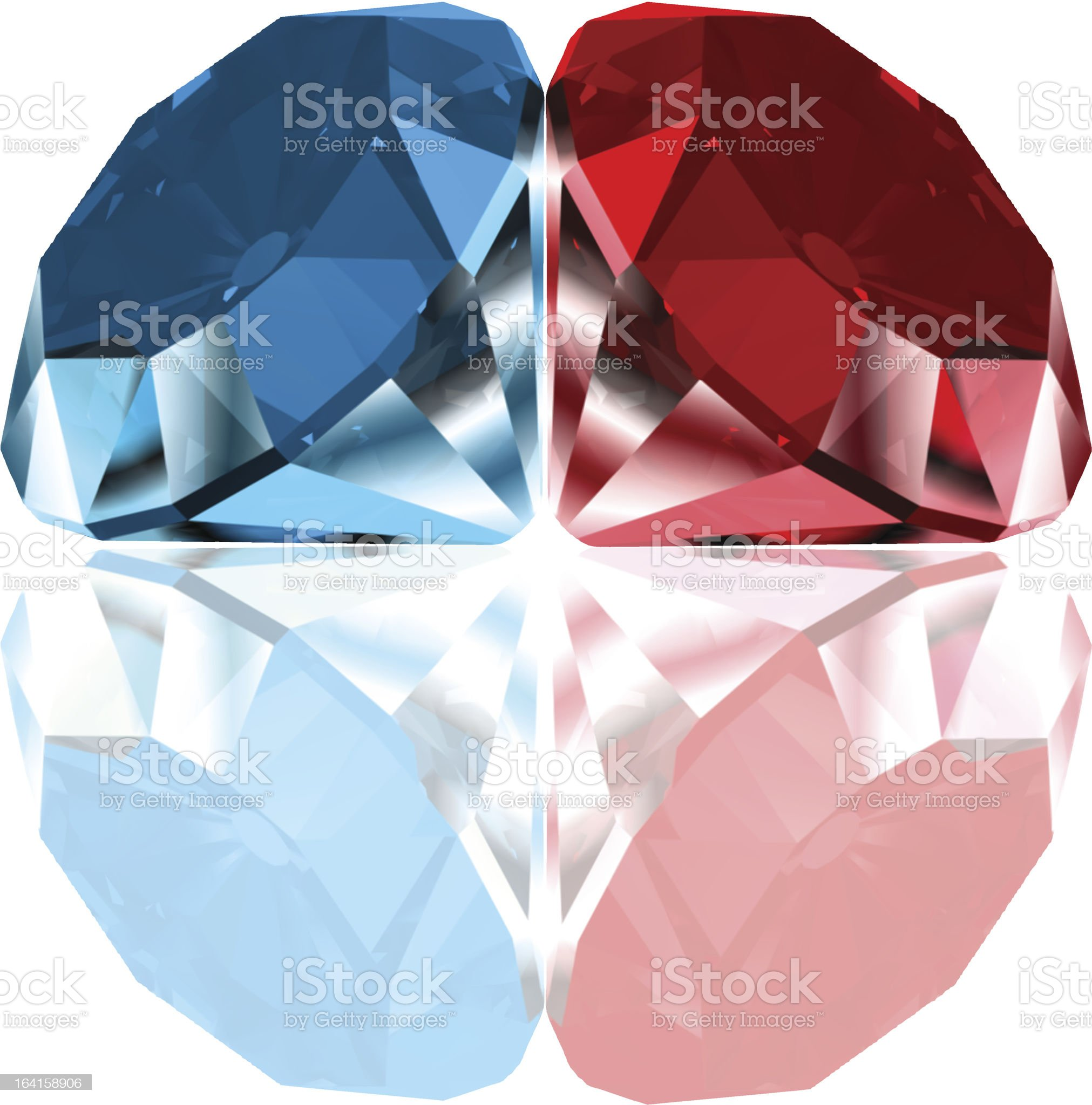 Red and blue diamonds. Vector royalty-free stock vector art