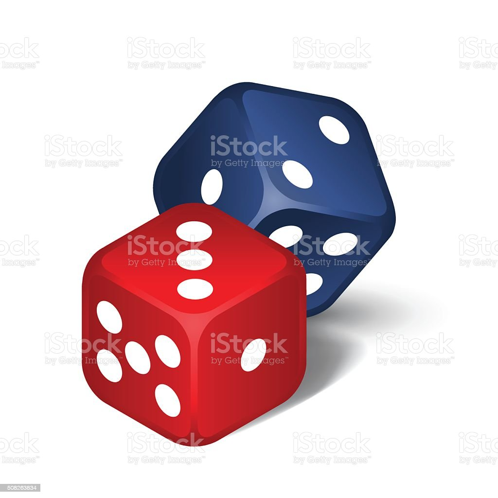 Red and blue dices vector art illustration