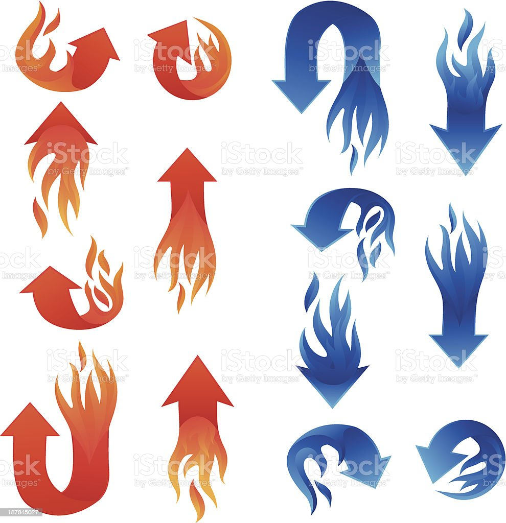 Red and Blue Fire Arrow Collections royalty-free stock vector art