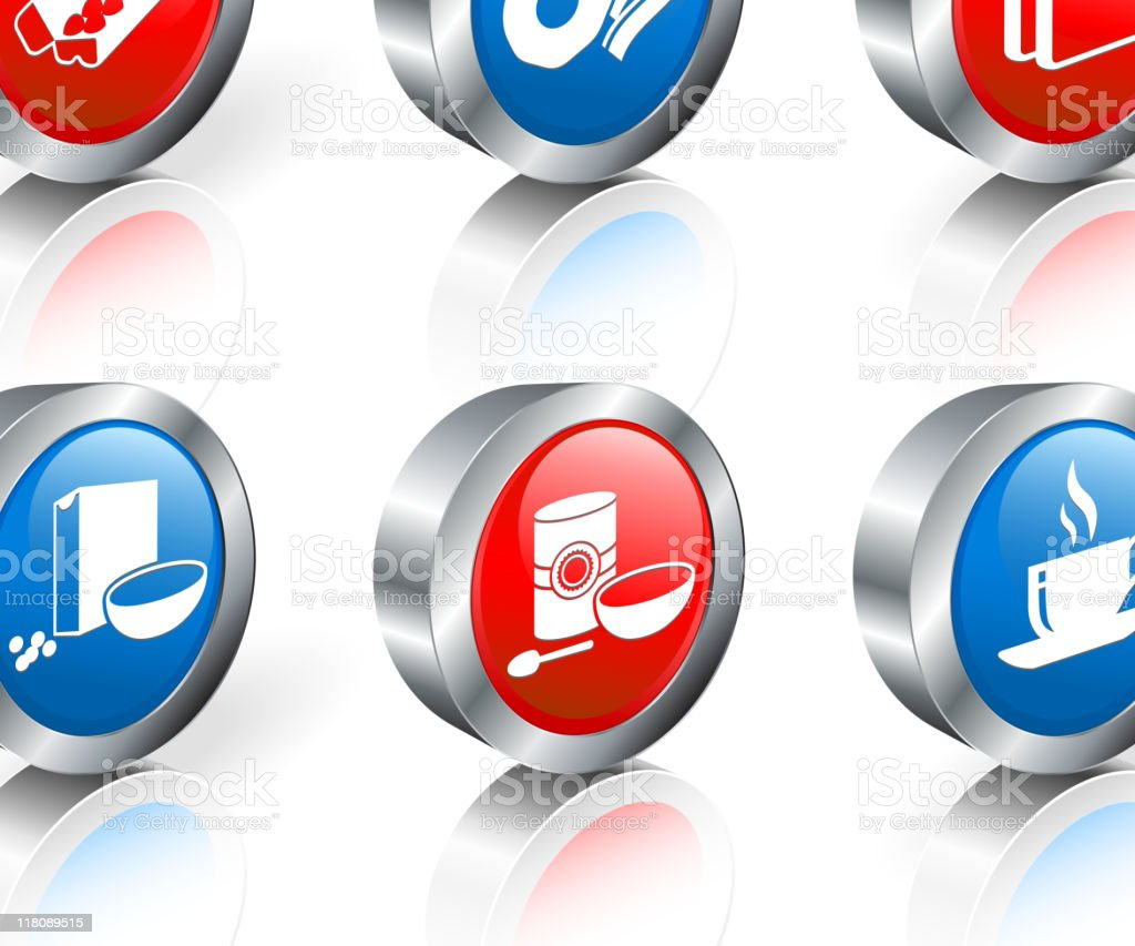 red and blue icons that represent breakfast royalty-free stock vector art