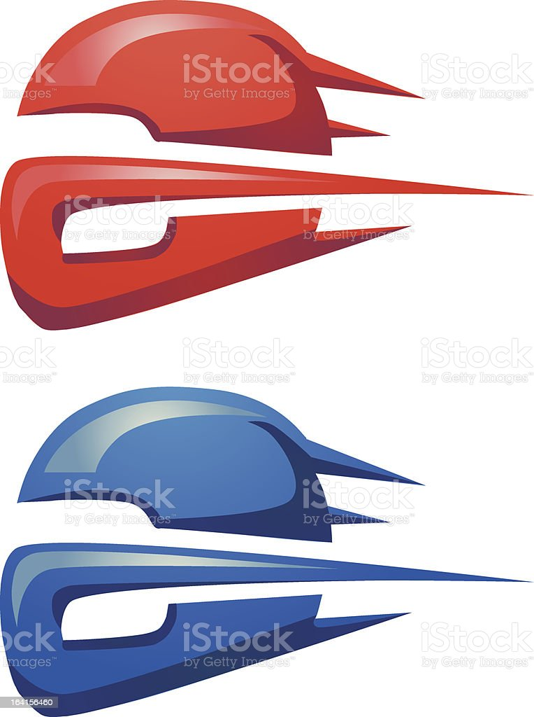 Red and blue motorcycle helmet in motion royalty-free stock vector art