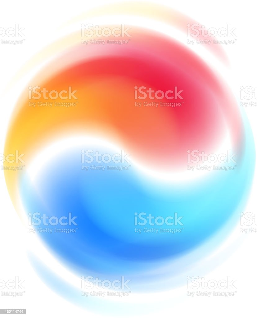 Red and blue opposites cooperation abstract symbol vector art illustration