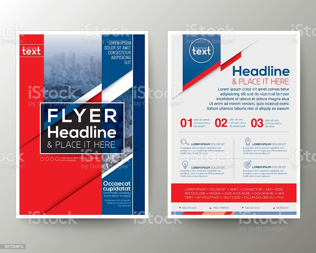 Red and Blue Poster Brochure Flyer design Layout vector template vector art illustration