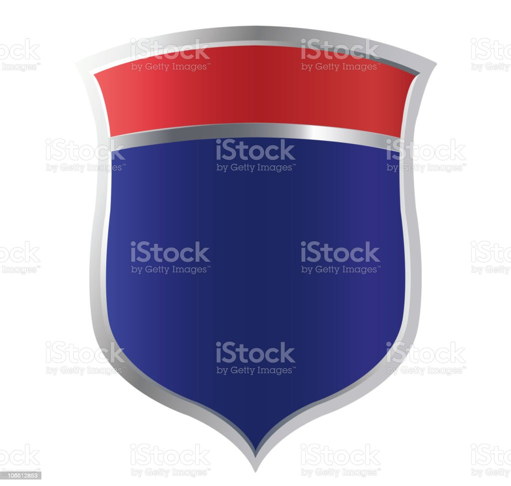 A red and blue security shield royalty-free stock vector art