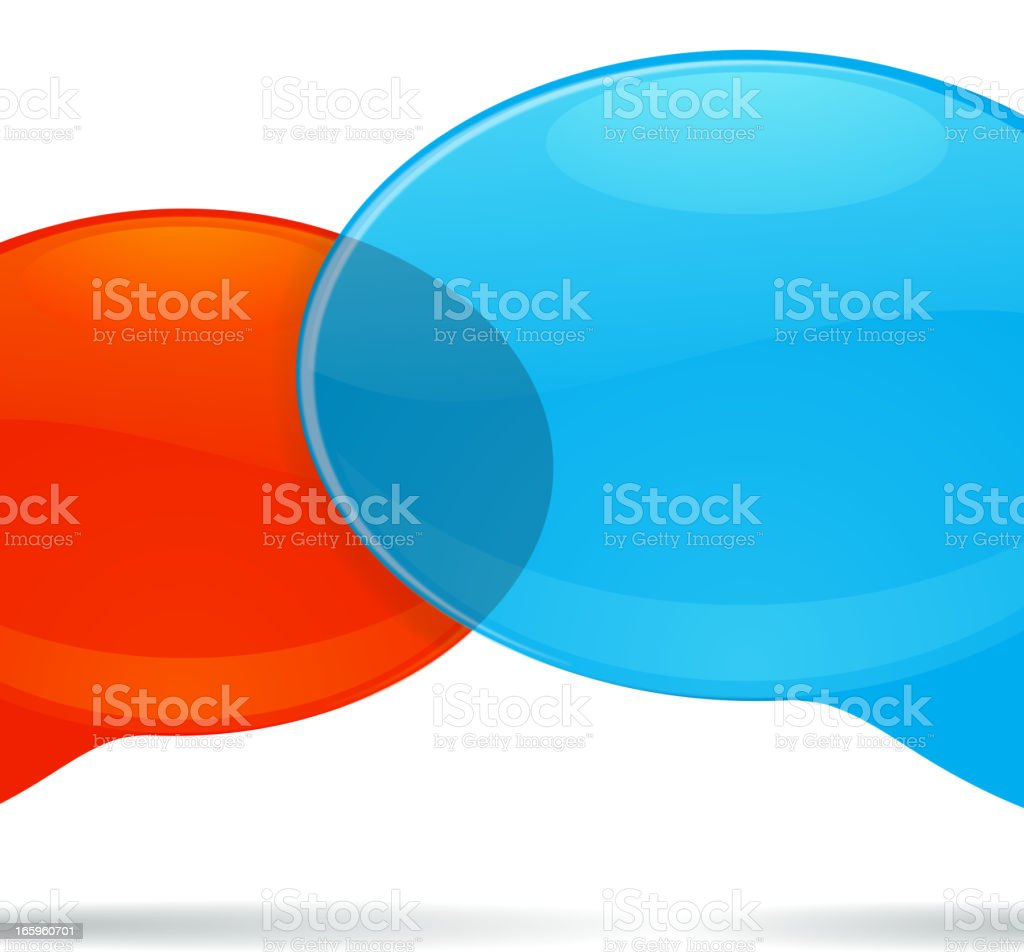 A red and blue speech bubble overlapping royalty-free stock vector art