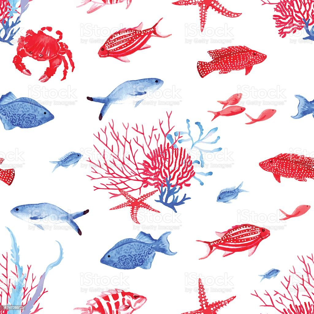 Red and blue underwater seamless vector pattern vector art illustration