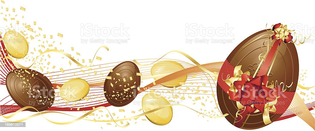 Red and Gold Chocolate Easter Egg Banner royalty-free stock vector art