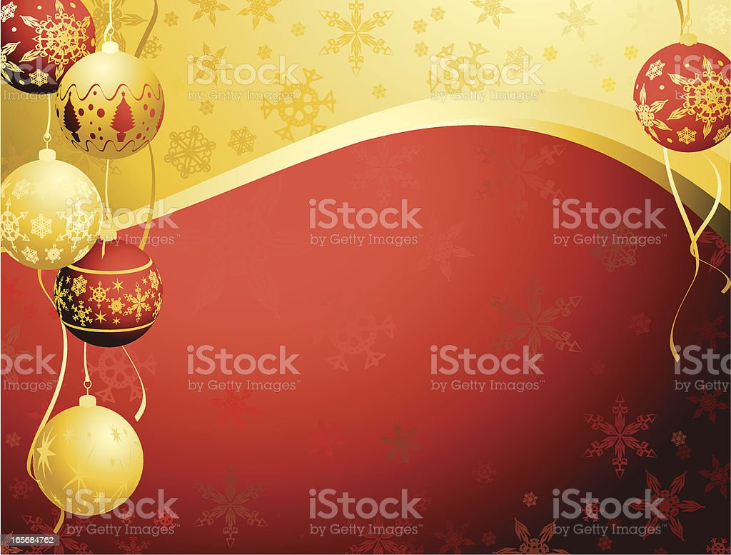 Red and Gold Christmas Bauble snowflake swirl vertical Background royalty-free stock vector art