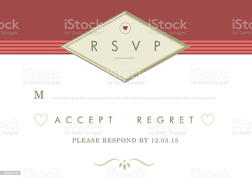 RSVP red and gold design theme royalty-free stock vector art