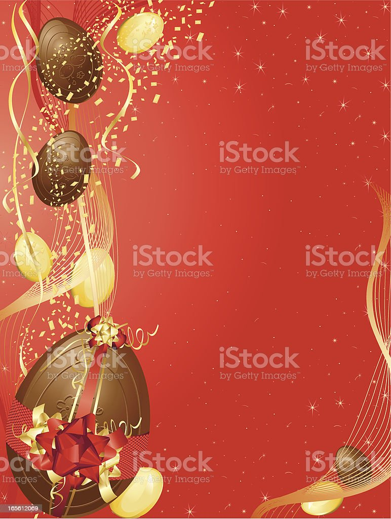 Red and Gold Easter Egg Background Vertical royalty-free stock vector art