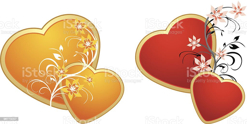 Red and gold hearts with floral ornament royalty-free stock vector art