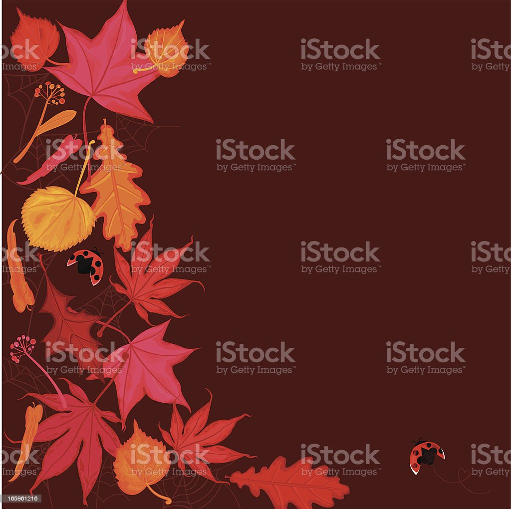 Red and Golden Autumn Leaves Background royalty-free stock vector art