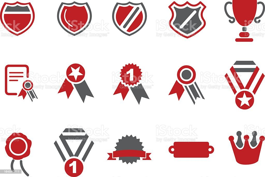 Red and gray flat icon set of assorted badges vector art illustration