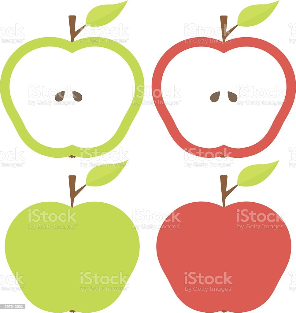 Red and Green Apples vector art illustration