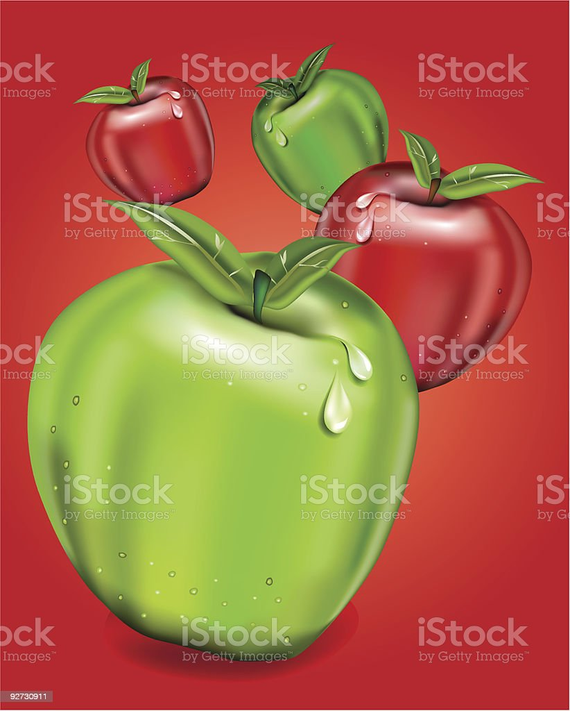 red and green apples royalty-free stock vector art