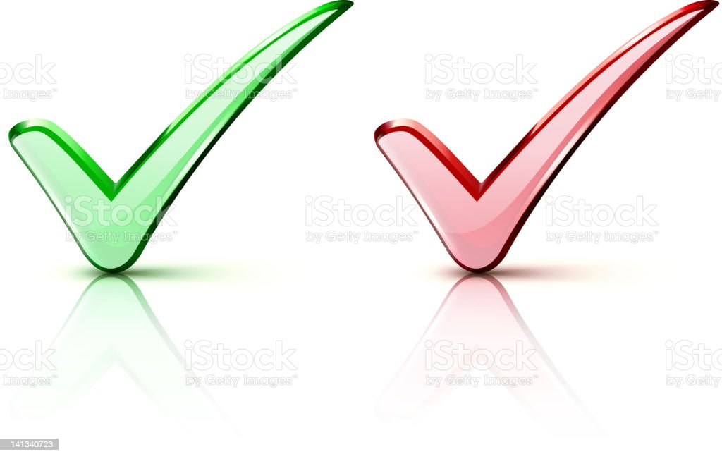 Red and green check mark icons royalty-free stock vector art