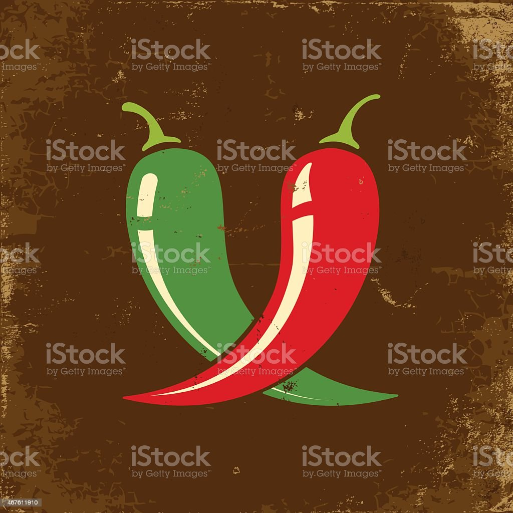 Red and green chili peppers on a brown background vector art illustration