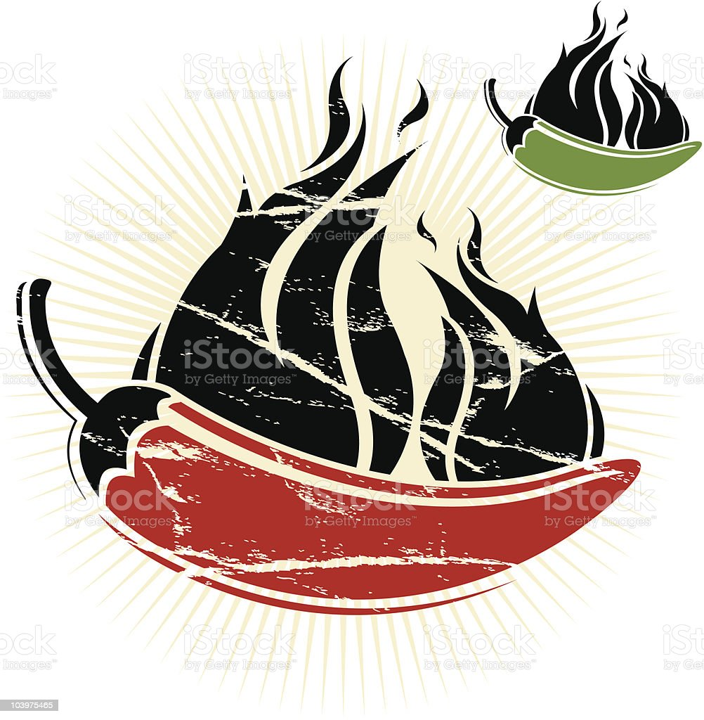 Red and Green Chili Peppers royalty-free stock vector art