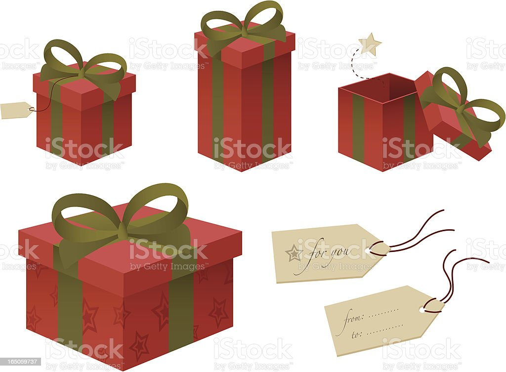 Red and Green Gift Boxes royalty-free stock vector art