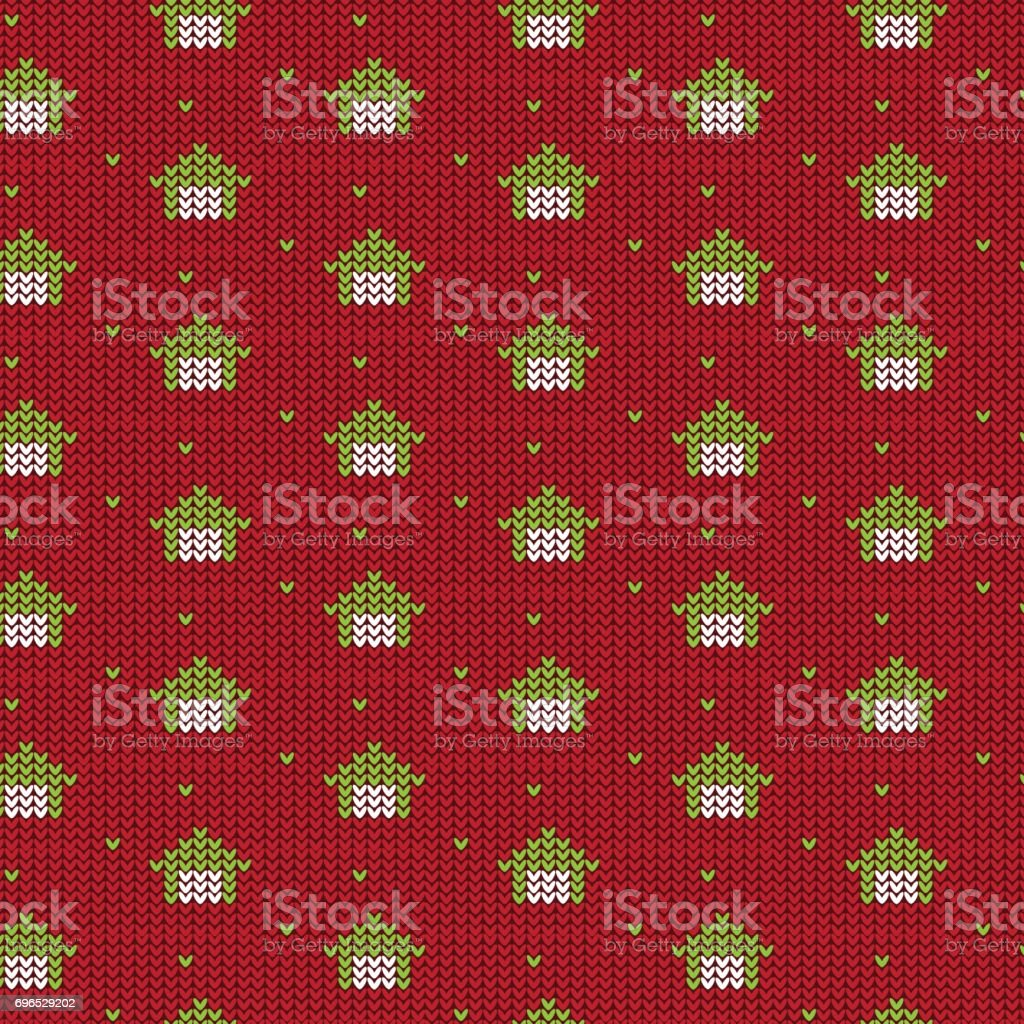 red and green house with green dot knitting pattern background vector art illustration