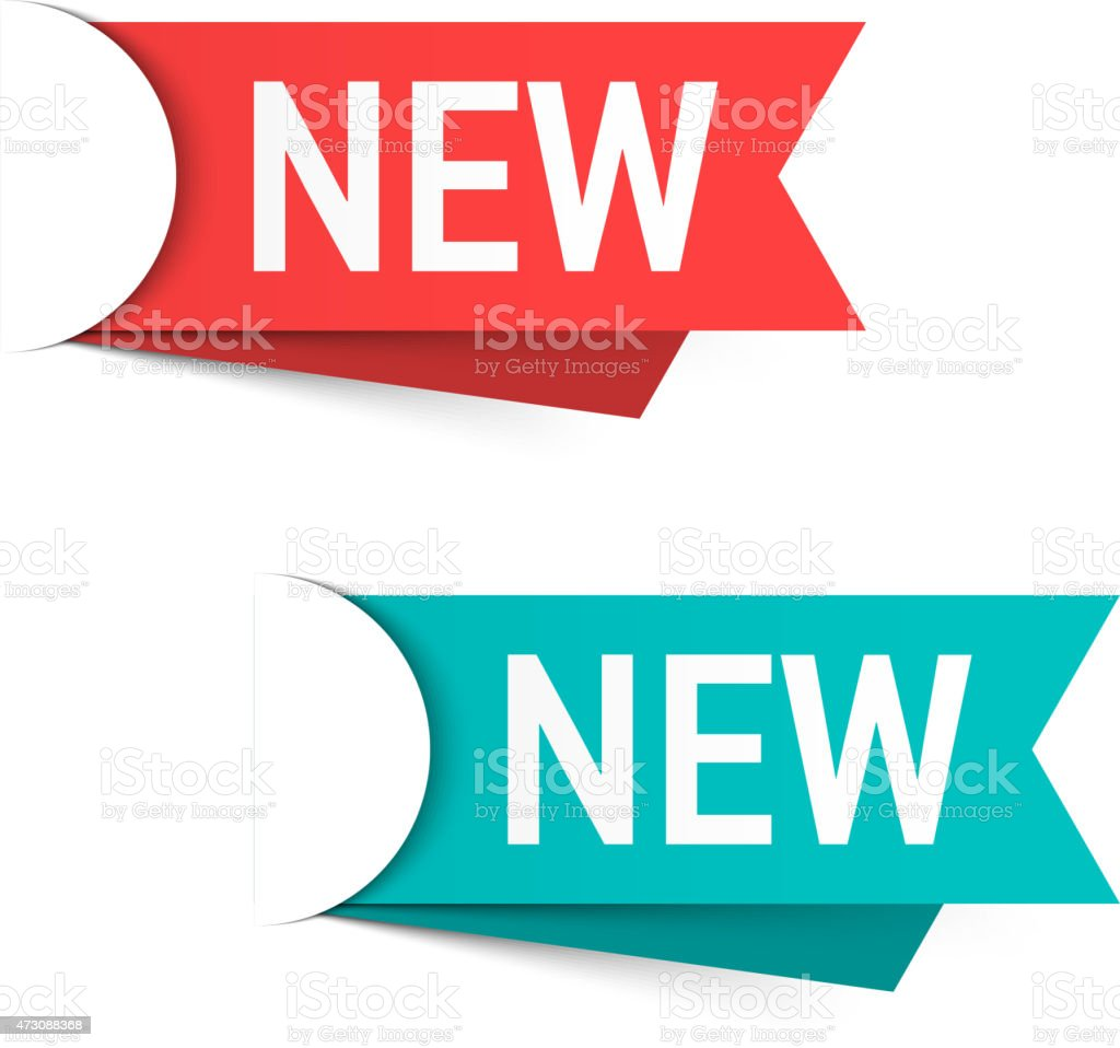 Red and green labels with the word new vector art illustration