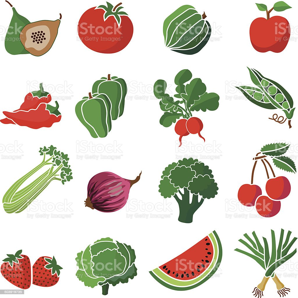 red and green produce vector art illustration