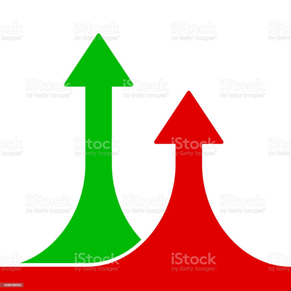 Red and Green Rising Arrows on White Background.Vector royalty-free stock vector art