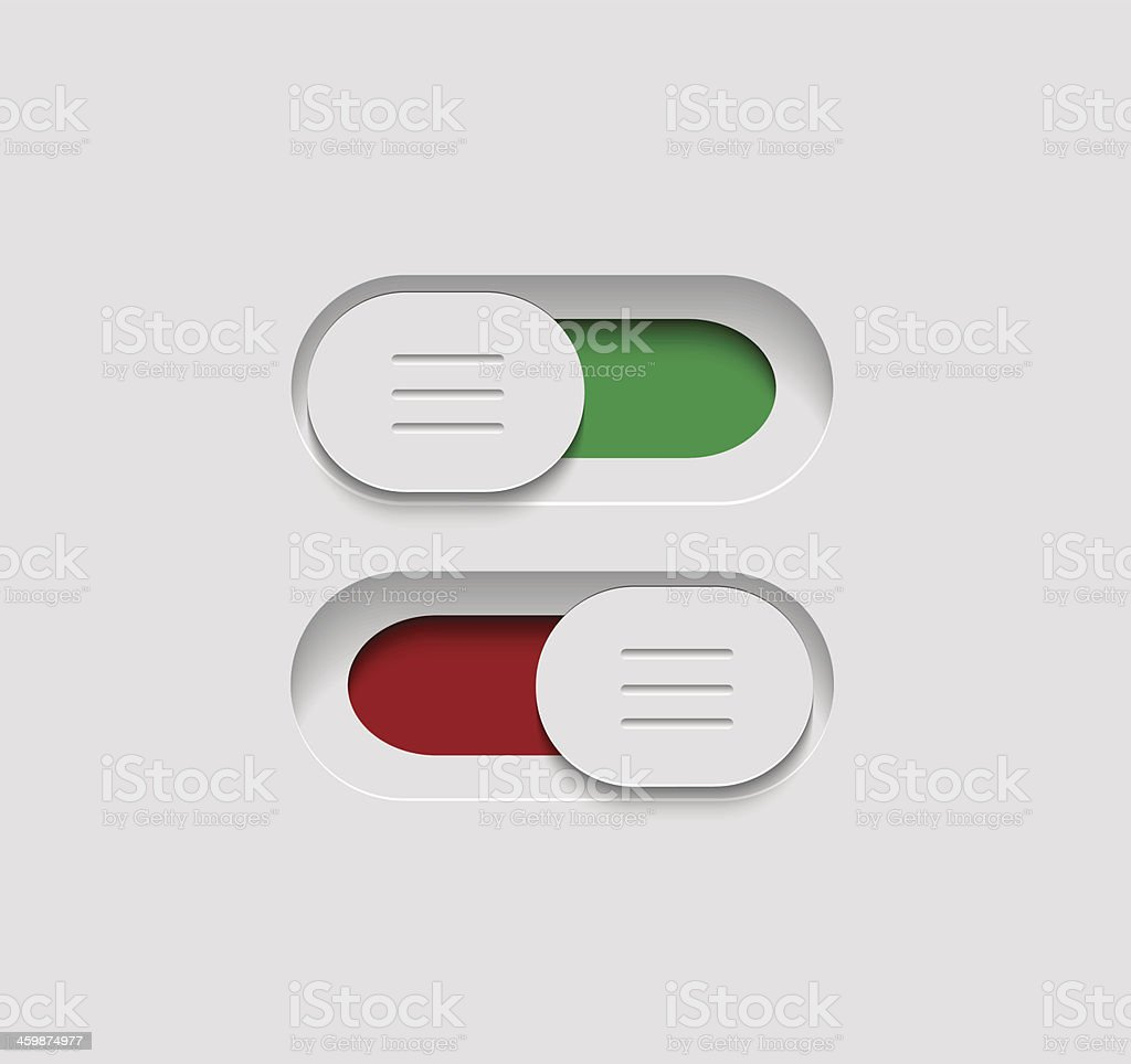 Red and green slider buttons on white background vector art illustration