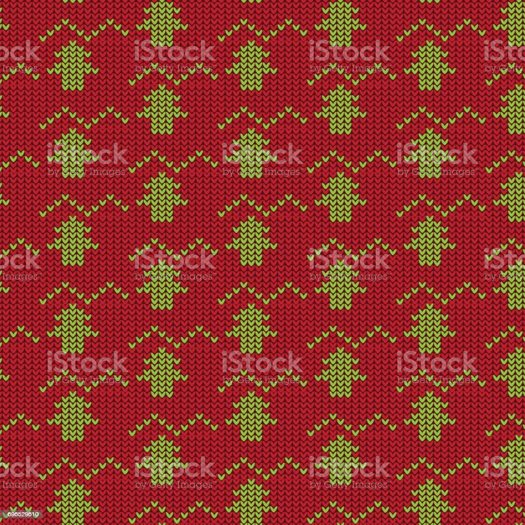 red and green tree with zigzag line knitting pattern background vector art illustration