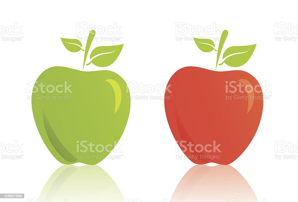 red and green vector apple vector art illustration