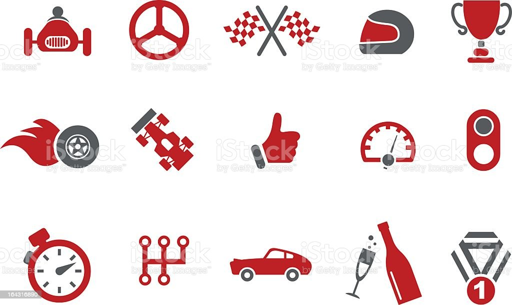 Red and grey vector images with a racetrack theme  vector art illustration
