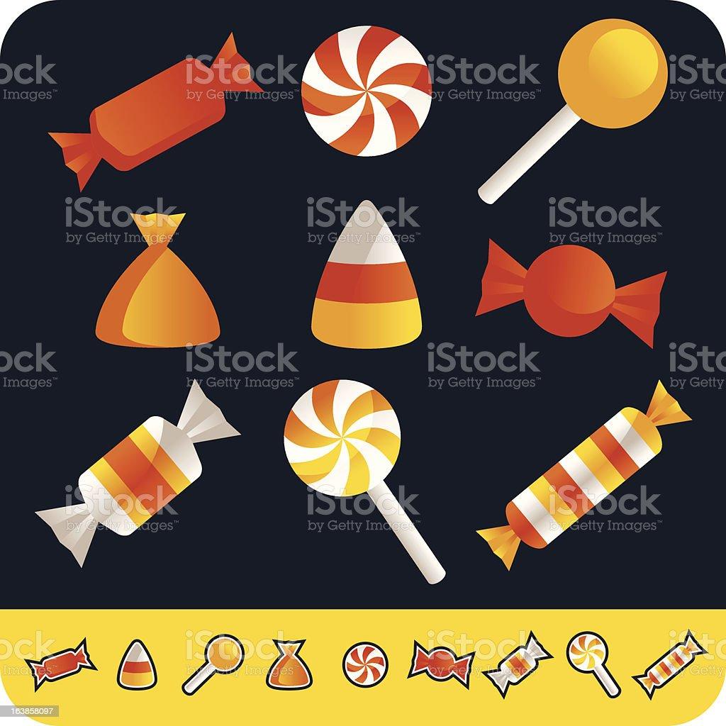 Red and orange cartoon Halloween candy vector art illustration