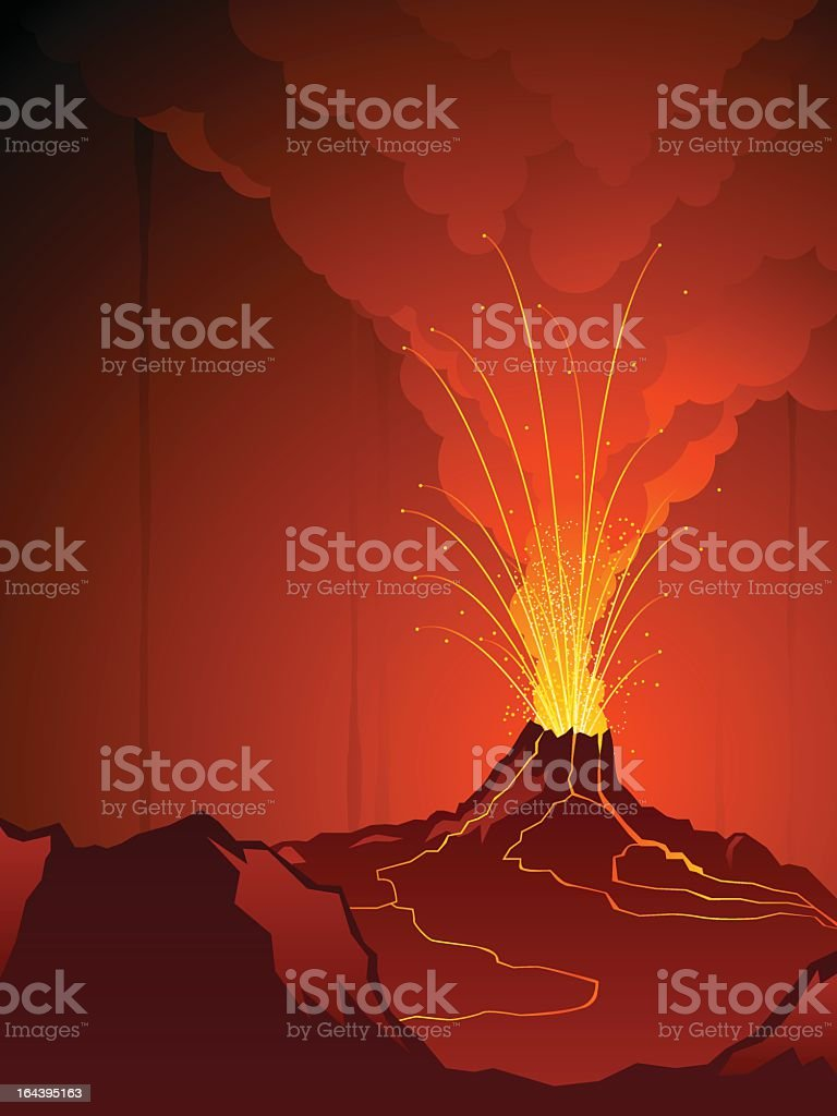Red and orange cartoon of a volcano erupting royalty-free stock vector art